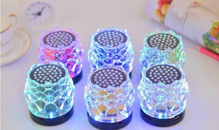 JHW-238 Transparent Crystal Lotus Card Speaker Mini Stereo MP3 Player Wireless Speaker Super Bass Portable Speaker Amplifier(China (Mainland))