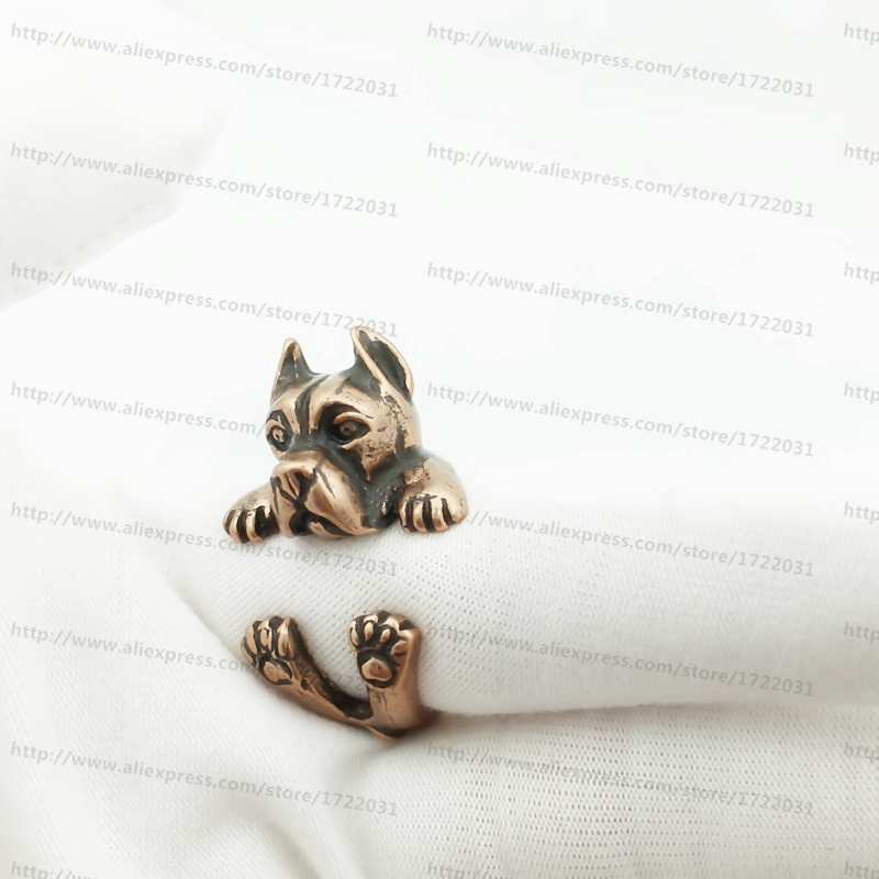 design 12 pcs/lot handmade vintage adjustable wrap ring/ Antique Silver/bronze /black colour cane corso Rings gift - ALIEN'S SHOP store