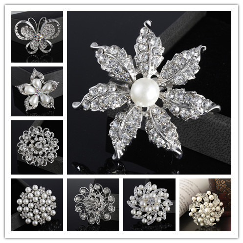 2015 New Bijoux Brooches For Wedding Broches Fashion Vintage Women Rhinestone Brooch Crystal Flowers Silver Brooches Pins(China (Mainland))