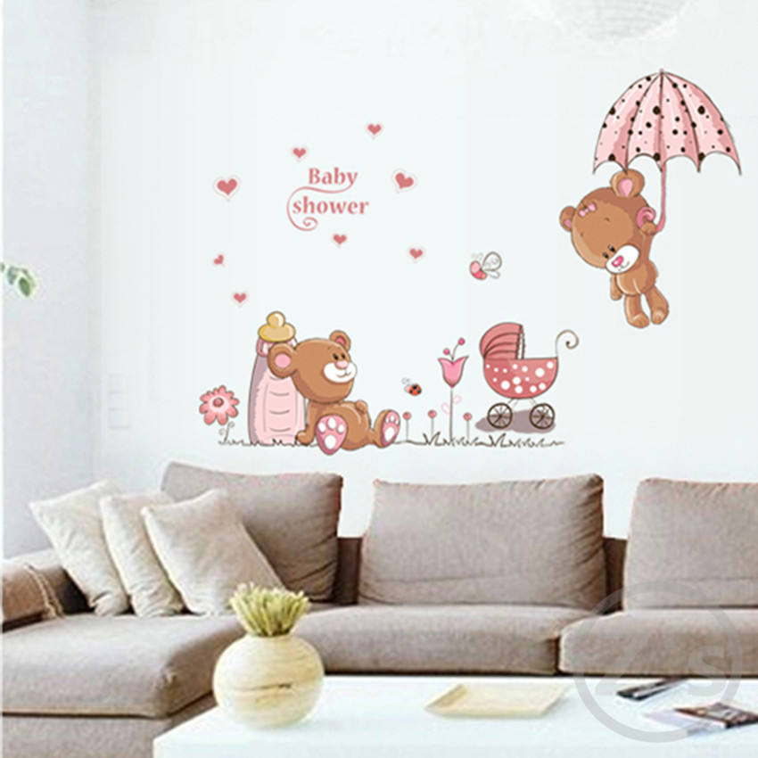 bear wall stickers children room home decor baby shower adhesive for kids room ay7194(China (Mainland))