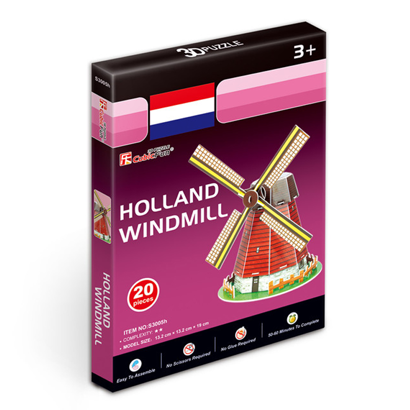 Kids Toys Cubic Fun 3D Puzzle Holland Windmill Model DIY Puzzle Children Toys Birthday Gifts Educational Toys S3005h(China (Mainland))