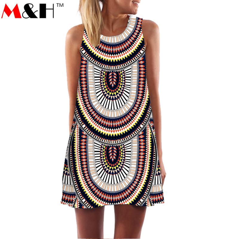 2016 Summer 3D Print Vintage Dress Hippie Women Beach Dress Dashiki Loose Boho Plus Size Women Clothing Jurk Sundresses Vestidos(China (Mainland))