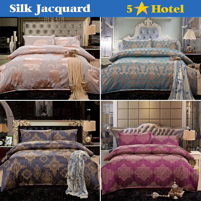 Bedding sets Silk Jacquard Cotton Bed Clothes Bedding bed linen bed set(Duvet Cover Bed sheet Pillow) Queen King Free Shipping(China (Mainland))