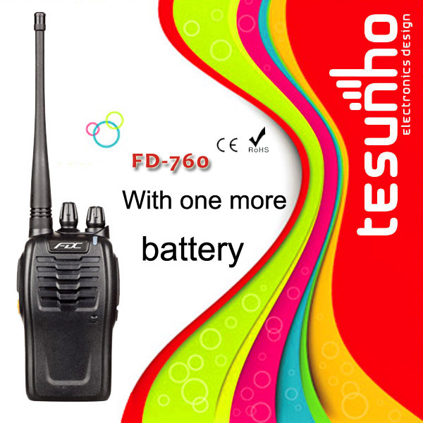 FD-760 with one more high-storage battery for sale long talk range two way radio professional walkie talkie 5W(China (Mainland))