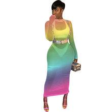 Arcobaleno Sfumatura di Colore Più Il Vestito Da Formato Delle Donne Della Maglia Spliced Scava Fuori Bodycon Del Partito Vestito Da Estate A Manica Lunga Prospettiva Abiti(China)
