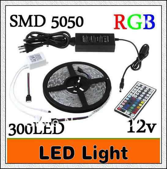 wholesale 1PCS RGB Led Strip 5M SMD 5050 300 LEDs/Roll waterproof IP65 + 44 keys IR Remote Controller + 12V 5A Power Adapter(China (Mainland))