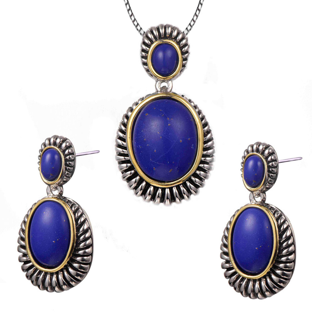 Vintage Lapis lazuli Pendant&Earrings Women 925 Sterling Silver Fashion Jewelry Set Pendant&Earrings TT711(China (Mainland))