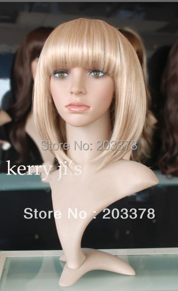 New Styllish Wig-Super Natural Cheap Medium Straight Blond Bob Wig 10pcs/lot free shipping