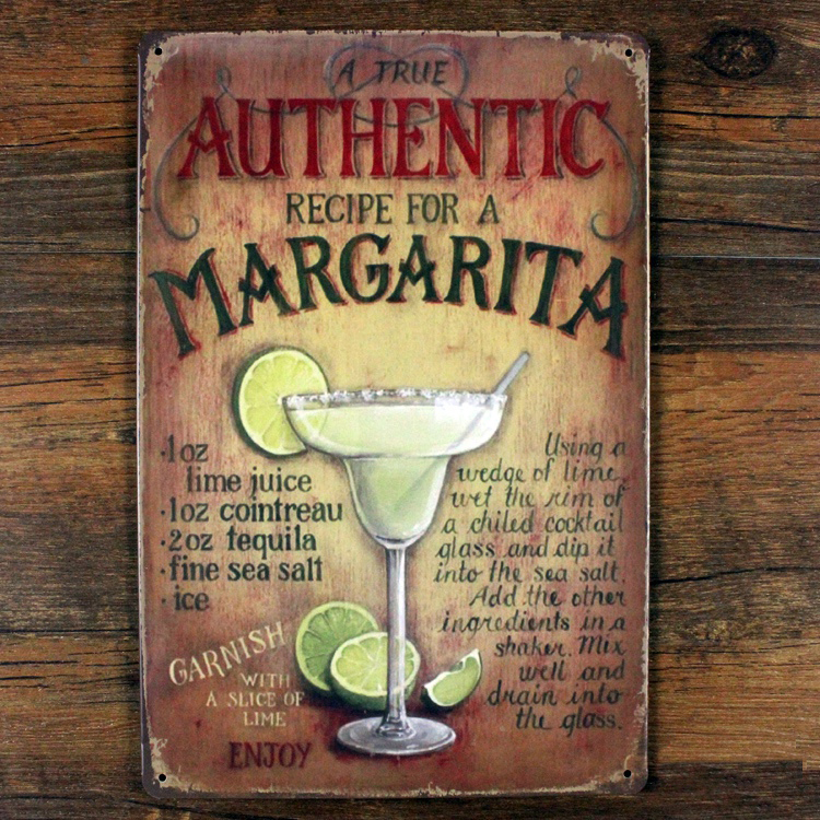 Recipe for a Cocktail Advertising Plaques Metal Tin Plate Poster 20X30CM Vintage Tin Signs Bar Club Cafe Shop home Wall Decor(China (Mainland))