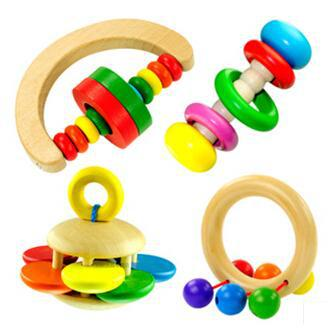 Free shipping 4pcs/set The color of natural wood rattle,Baby toys Interactive game(China (Mainland))