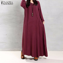 ZANZEA Women 2016 Autumn Retro Maxi Long Dress O Neck Long Sleeve Pockets Buttons Casual Loose Solid Cotton Dresses Vestidos(China (Mainland))