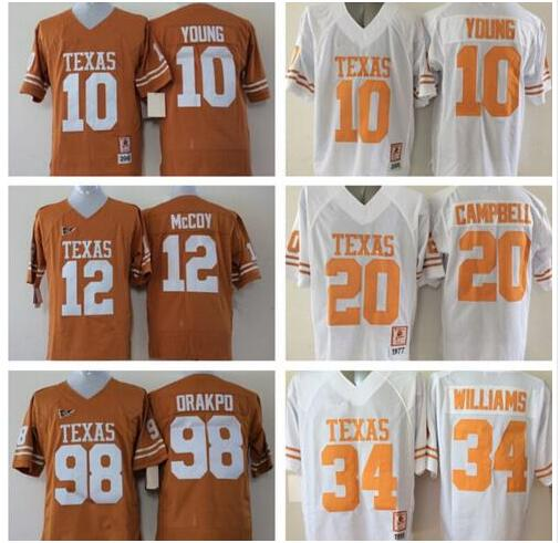 New Texas Longhorns Jersey 20 Earl Campbell 10 Vince Young #34 Ricky Williams #98 Brian Orakpo #12 McCoy Orange White Jerseys(China (Mainland))