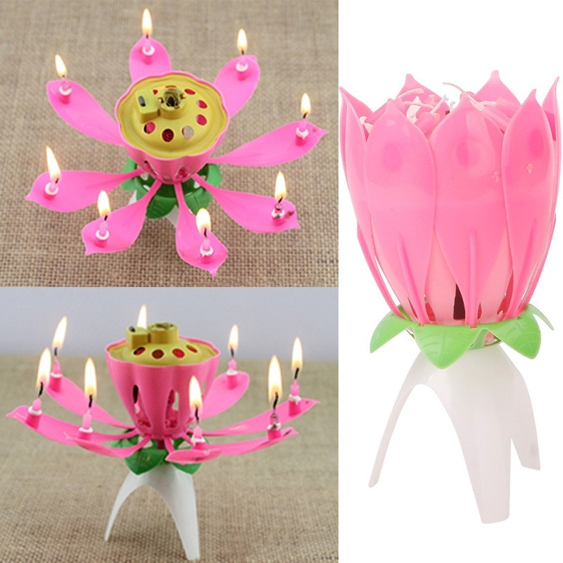 Amazing Romantic Musical Lotus Flower Happy Birthday Gift Candle Musical Candle Birthday Party Decoration Kids(China (Mainland))