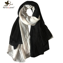 [Marte&Joven] Vintage Two Color Patchwork Design Cotton Scarfs Artistic Style Winter Autumn Warm Pashmina and Shawls Ladies(China (Mainland))