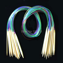 "Buy 2.0-10.0MM 18Pcs 39"" 100cm Multicolor Plastic Tube Circular Bleached Bamboo Knitting Needles Yarn Weave Craft Tools Set for $4.36 in AliExpress store"