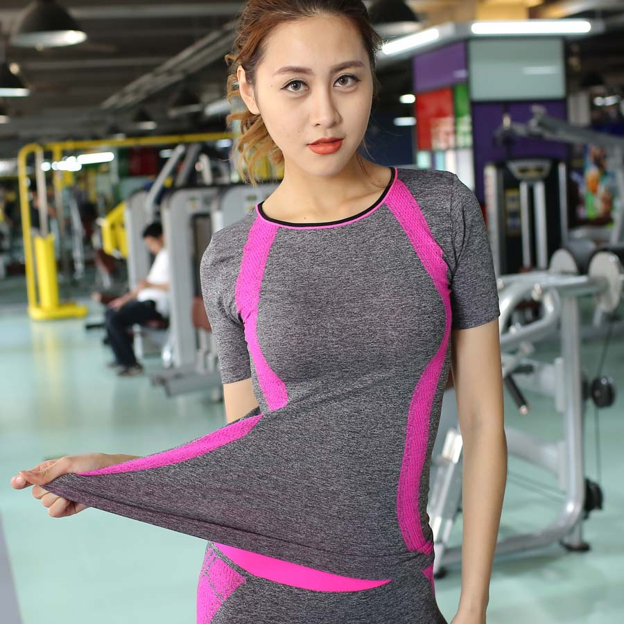 2016 Dry Quick gym t shirt compression tights women sport shirts running short sleeve t-shirts fitness Ladies Sports wear & tops - Sugar 5 store