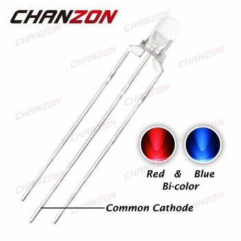 CHANZON 100pcs 3mm LED Diode Dual Color Red And Blue Clear Lens 3 mm Common Cathode Round Bi-Color DIY Light Emitting Diode Lamp