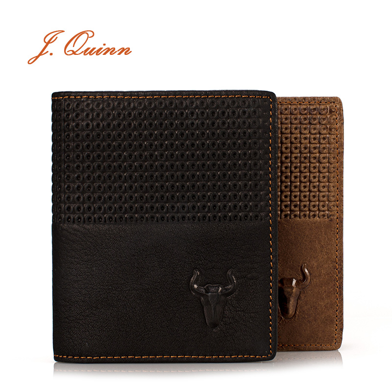J.Quinn New Men Genuine Leather Wallet Short Bifold Vertical Clip Cowhide Credit Card Real Leather Mens Wallets Coins Fashion(China (Mainland))