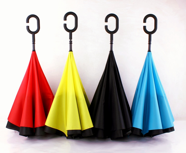 Double Layer Reverse Umbrella open/close in the narrowest space Creative graphic windproof creative Umbrella Car Umbrella(China (Mainland))