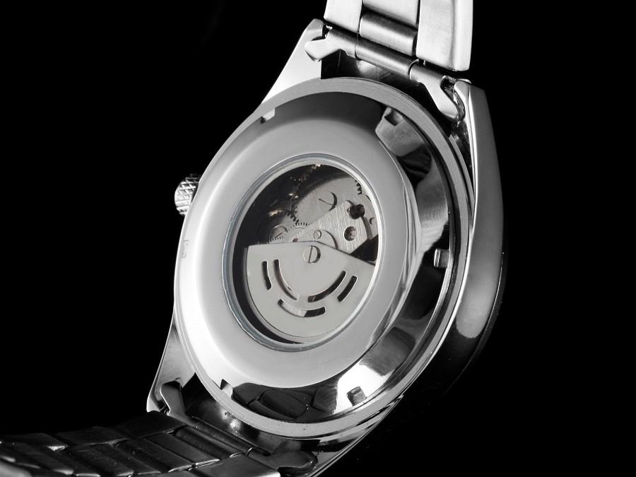GOER марка мужские механические часы Автоматические Световой цифровой водонепроницаемый мужчины Наручные часы Скелет из нержавеющей стали черный белый