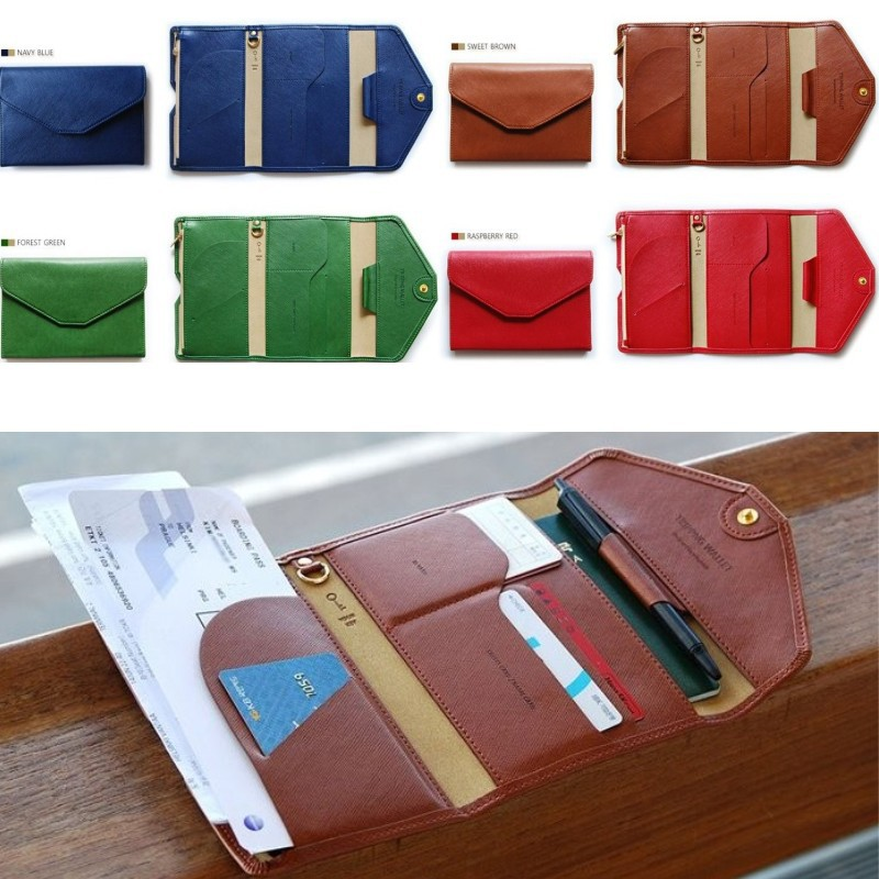 Men travel credit card wallets leather passport cover coin case purse passport holder women s card