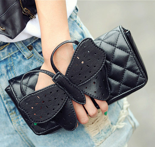2015 Fashion Women Butterfly bow-knot Clutch Chain Purse crossbody handbag PU leather shoulder bag - Yeah Bags and Shoes Co., Ltd store
