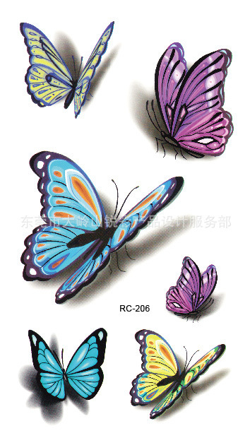 Waterproof 3d Tattoo Sticker Color Butterfly Letter Design Temporary Foil Decal Body Art Fake - dropshipping winwin store