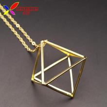 2016 Hot Cube Pendants Fashion Gold Silver Black Copper 3D Geometric Long False Collar Necklace For Women Jewelry collar bijoux(China (Mainland))
