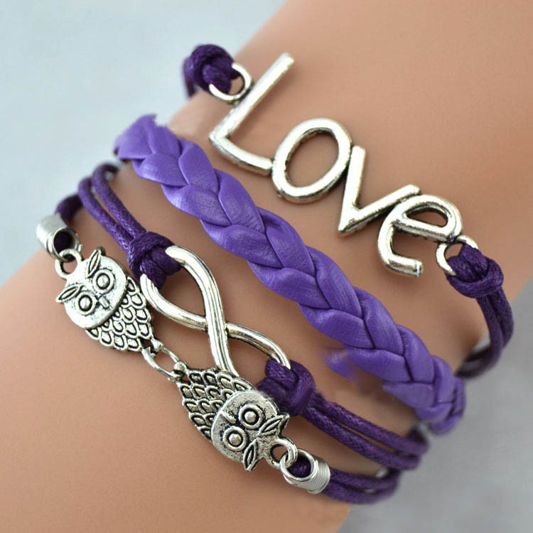 Mix Infinity leather love owl charm handmade bracelet friendship bangles jewelry valentina gift items