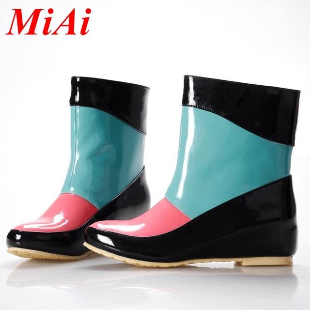 2016 марка женщины ботинки дождя непромокаемые сапоги для дождливых дней 3 цвет женские смешанные цвета резиновая платформа warter обувь женщина