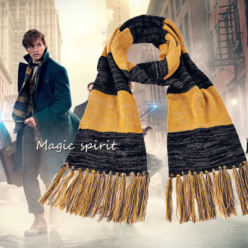 "novelty Harry Potter Scarf Boy Winter Warm Striped New ""prequel"" Magical Fantastic Beasts Slytherin School Children Shawls Q128(China (Mainland))"