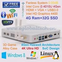 Mini ITX PC New Haswell Processor Intel Core i3 4010U 1.7Ghz 4G DDR3L 32G SSD HTPC 4K HD Palm Computer Mini Nettop Alloy Case
