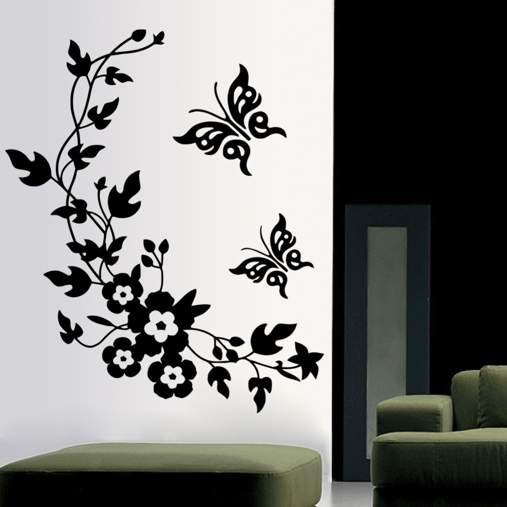Removable Vinyl 3d Wall Sticker Mural Decal Art - Flowers and Vine butterfly Wall Poster toilet living Room decals free shipping(China (Mainland))