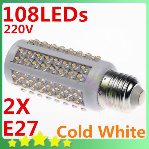 2pcs/lot E27 108LEDs Screw Corn Light Bulb Cold White LED Lamp AC 220-240V Corn LED FREE SHIPPING(China (Mainland))
