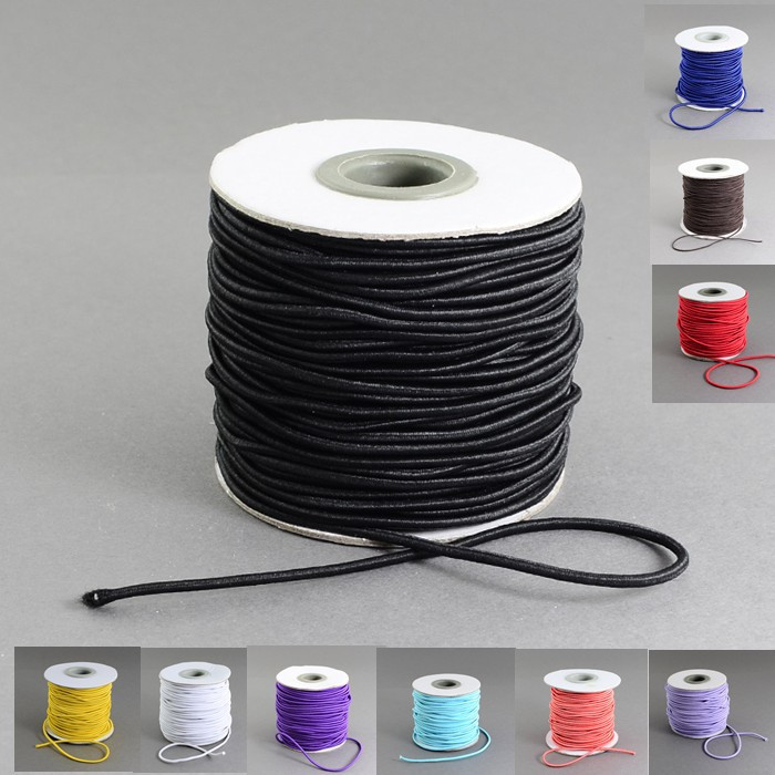 40m/roll 2mm Round Elastic Cord with Nylon Outside and Rubber Inside Black/Chocolate korean string cord roll accessories parts(China (Mainland))