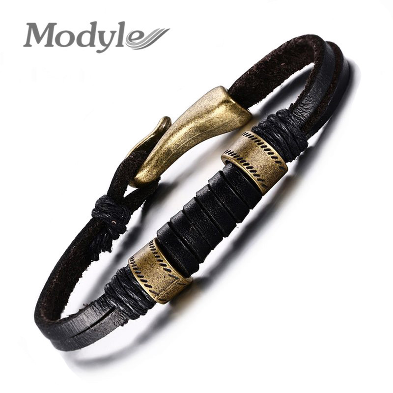 New Fashion Men Jewelry High Quality Vintage Leather Bracelet Classical Style Easy Hook Alloy Bracelets For Men(China (Mainland))