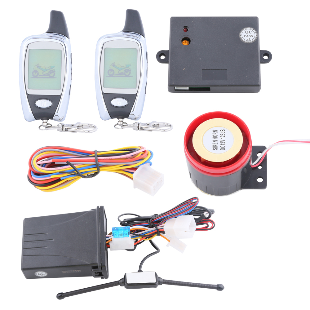 In Stock &amp; free shipping quality motorcycle burglar alarm system 2 way with remote engine start and microwave sensor LCD display<br><br>Aliexpress