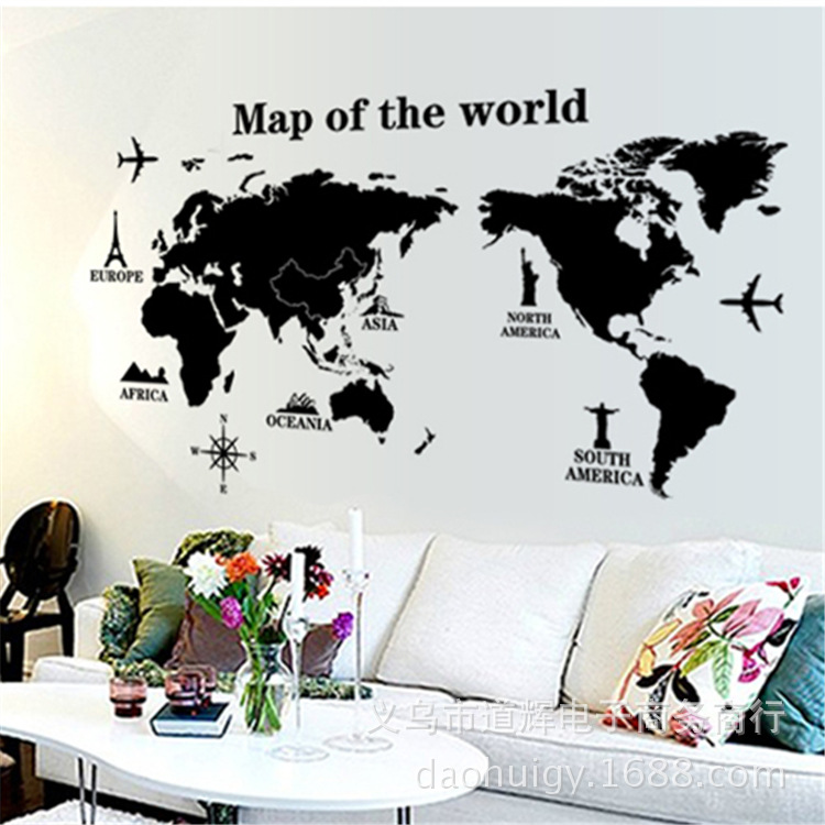 The Bedroom Living Room Wall Stickers World Map Library Wall Stickers Home Decor Wall Decor Home Decoration Accessories(China (Mainland))