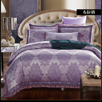 BS69 new bedding sets 4pcs complete satin Jacquard Bedding Set luxury brand cotton Duvet Cover bedding sheet pillow case set(China (Mainland))