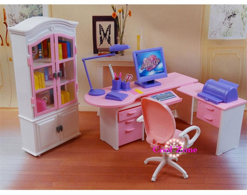 Miniature Furnishings Residence Workplace Set for Barbie Doll Home Finest Reward Toys for Woman Free Transport