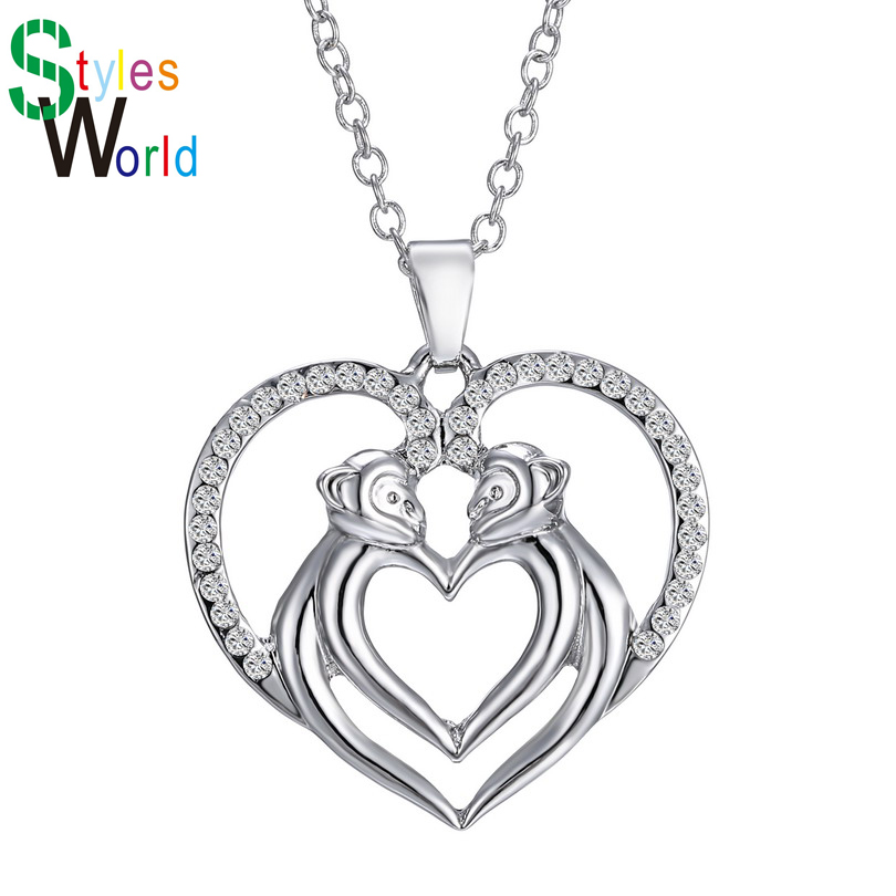 Romantic Wedding Jewelry Gift Double Monkey With Heart Shape Pendant Necklaces Silver Plated Link Chian Choker Necklace 161N33(China (Mainland))