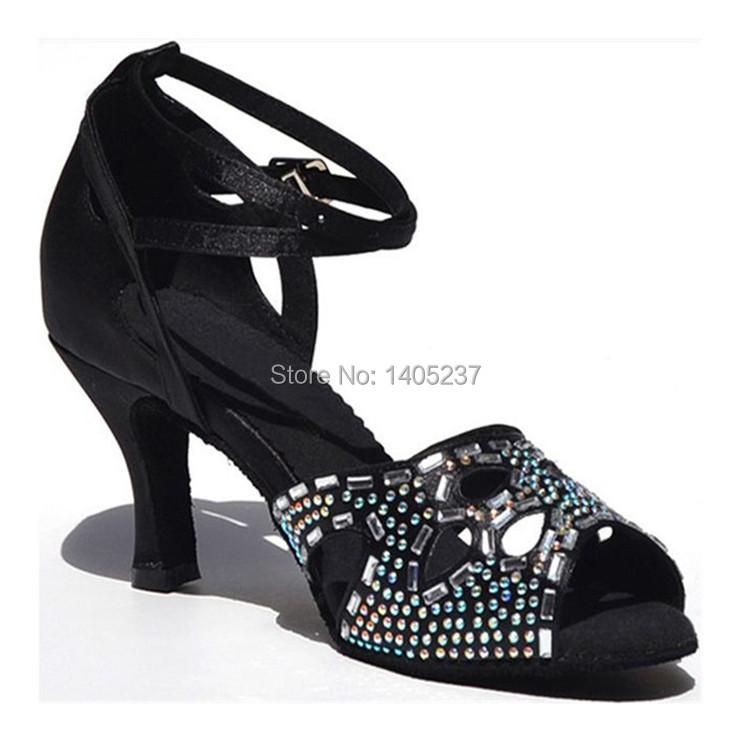 High Quality Rhinestone Ladies Ballroom Latin Dance Shoes 7.5cm High Heel Sexy Peep Toe Salsa Dance Shoe Black/Red Free Shipping