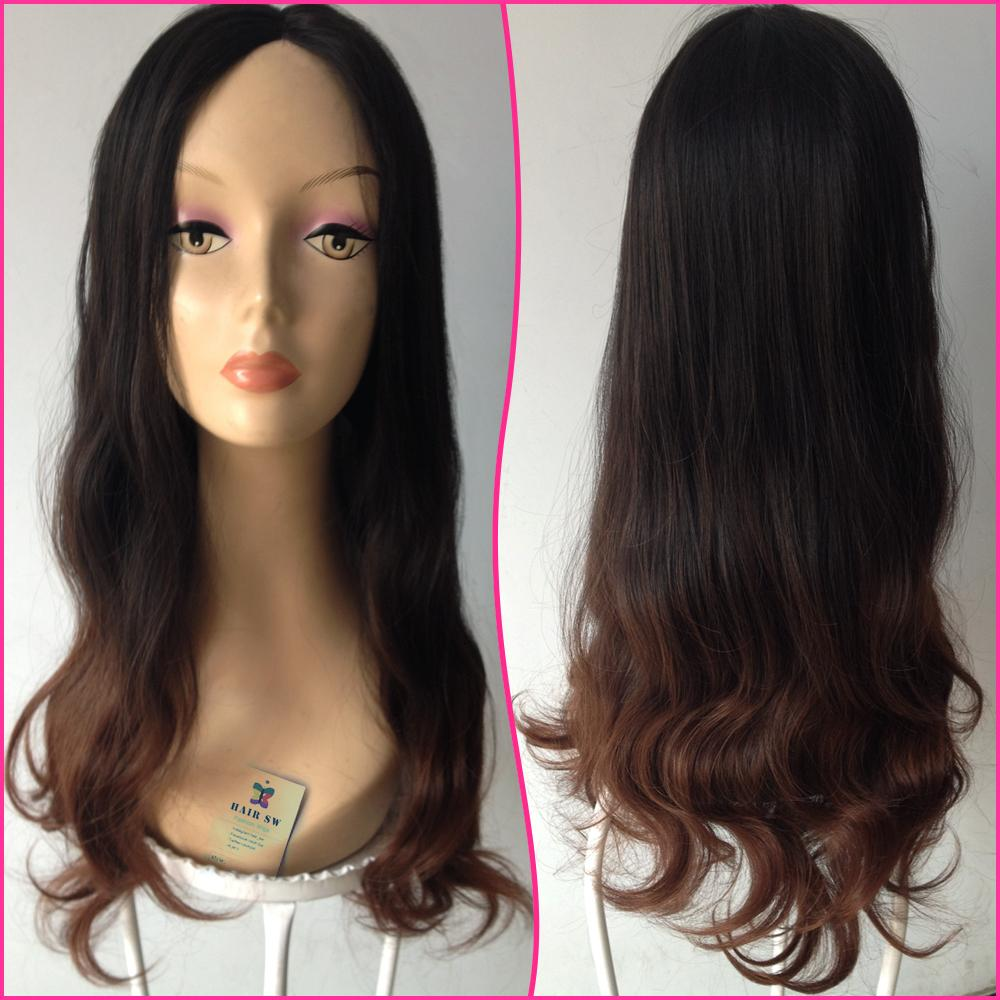 24Ombre Lace Front 1b30 middle brown Two Tone Glueless Blended Long curly Hair wigs For Female Elegant Fashion Celebrity Wig<br><br>Aliexpress