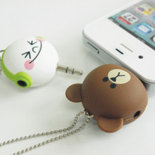 Cartoon Headset Deconcentrator One to two Music Sharing Device 3.5mm Anti Dust Plug Cell Phone Accessories For Iphone All Phone(China (Mainland))