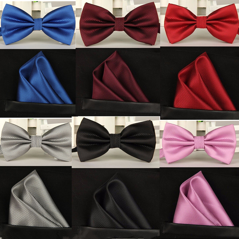 20 color solid silk royal blue bow tie set men Wedding(China (Mainland))