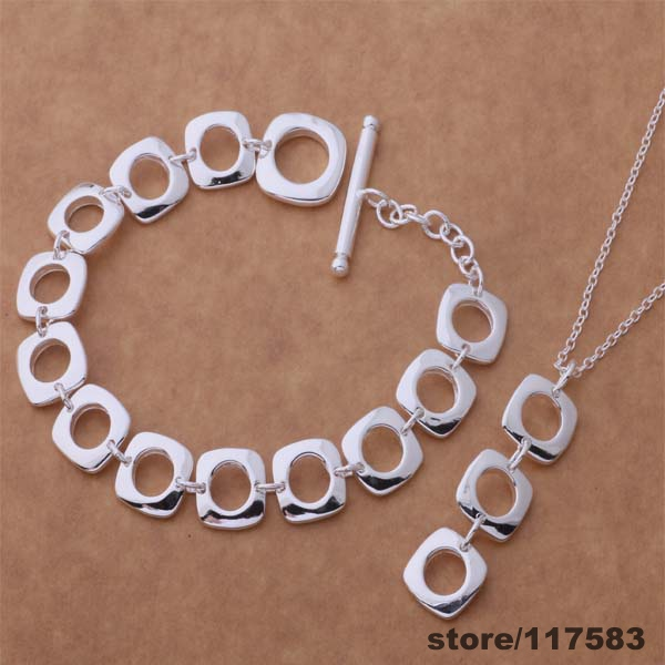 AS038 silver plated Jewelry Sets Necklace 239 + Bracelet 163 /emgandna dfealwla - Fancy True Love Trade Co.,Ltd store