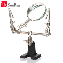 Third Hand Soldering Iron Stand Helping Clamp Vise Clip Tool Magnifying Glass wholesale(China (Mainland))