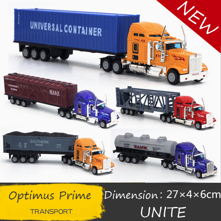 Free Shipping Transformation 1:65 Optimus Prime truck alloy car truck American transport flat car simulation model kids gifts(China (Mainland))