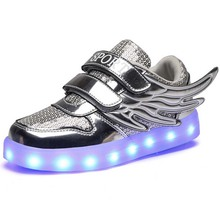 Kd Shoes 2016 Kids Light Up Wing Shoes Led Luminous Growing Sneakers Boys And Girls Gold USB Charging Children Casual Shoes