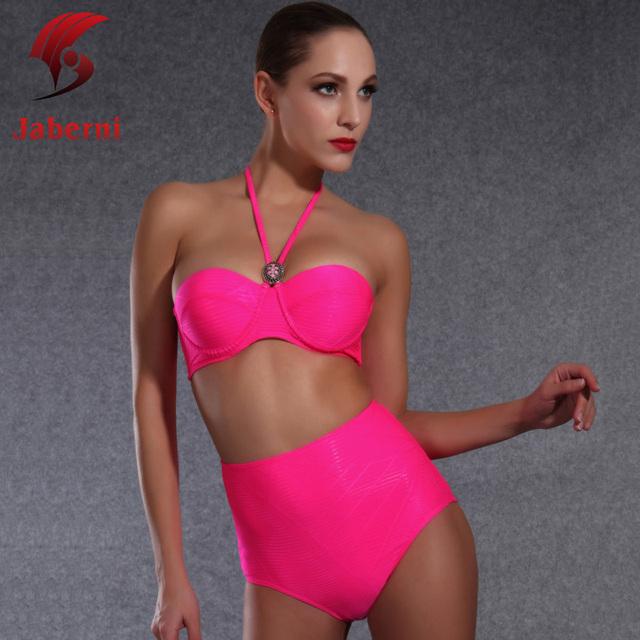 Noen розовый высокая талия нижней поднимите комплект бикини твердые пляж боди бич сексуальные женщины купальник Pin Up корейский и австралии купальники
